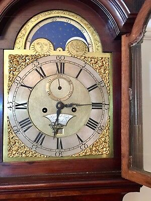 Fine mahogany long case clock by Richard Taylor of London,8 day moon roller