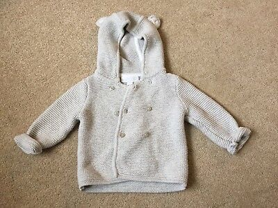 The Little White Company Bear Cardigan Grey 0-3 Months