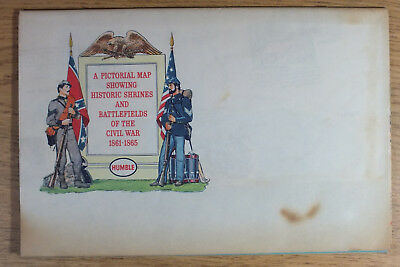Vintage 1961 Humble Oil Pictorial Civil War Map Shrines and Battle Fields