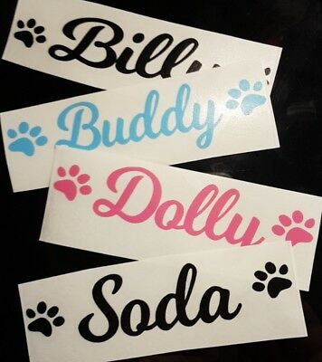 Personalised Pet Name Vinyl Decal Sticker for Dog/Puppy Cage/Crate/Bowl/Toy Box