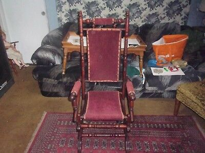 Victorian Spindle Back Rocking Chair In Red