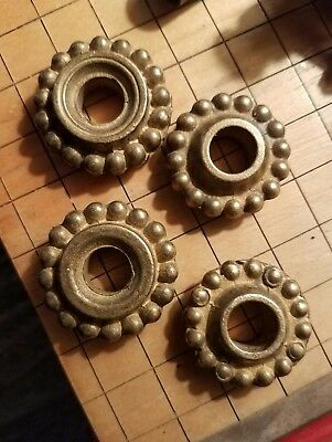 Antique Brass LAMP PARTS (4) Vintage Round SPACERS Hardware SLEEVES Lighting Old
