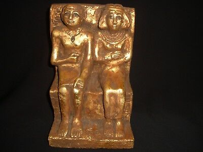 Rare Antique Ancient Egyptian Statue Rahotep and Nofret Water Gold 1860-1740 BC
