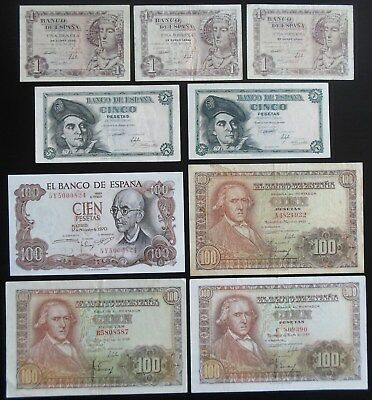 Y82 Spain collection of 4 Pick var. w/multiple prefixes for 1948 issues P135-137