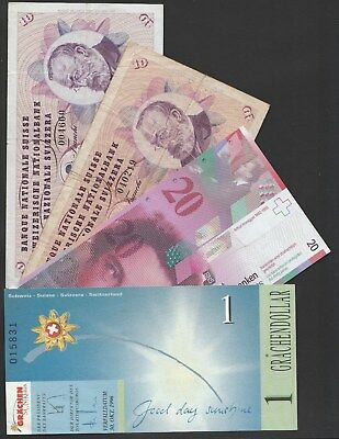 Y88 Switzerland collection of 4 paper money items