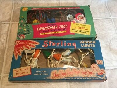 Lot Of Vintage Christmas Lights 2 Boxes And 3 Strings Sterling And Renown