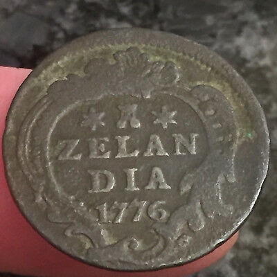 1776 Colonial Times Netherlands Zelandia Copper Duit 1776