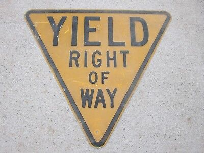 Vintage Yield Right Of Way Steel Embossed Crushed Glass Reflection Road Sign