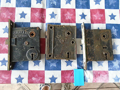 (4)Ant late 19th early 20th century cast iron mortise or surface mnt door locks