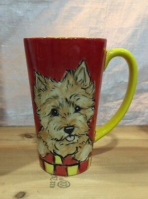 Norwich Terrier Hand Painted Kiln Fired Ceramic Latte Cup By Darci