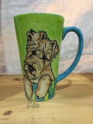 Irish Terrier Hand Painted Kiln Fired Ceramic Latte Cup By Darci