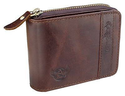 Gift Admetus Men Genuine Leather Bifold zipper Wallet With Elegant Box Brown