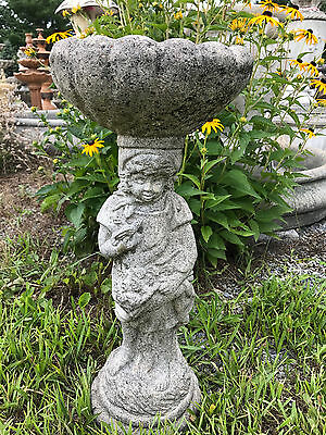 Vintage Girl Holding Bird and Flowers BirdBath Feeder Garden Statue Art 30+Years