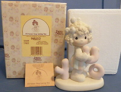 I'll never stop loving you Precious Moments 521418 figurine 1993 girl with Y O U