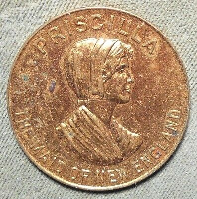 Priscilla The Maid Of New England Furniture Company Advertising Gilt Brass Token
