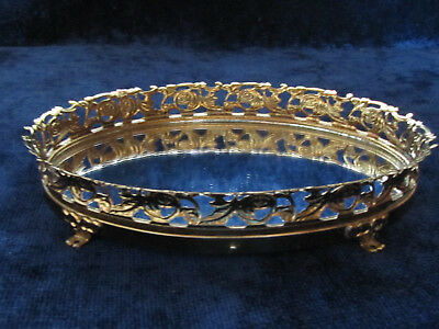 Vtg. Mirrored Footed Dresser Tray Gold Metal Floral Design