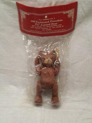 "Vintage 1985 Old Fashion Porcelain 3.75"" Jointed Bear Antique Replica New"