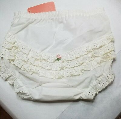 Vintage White Eyelet 3 Row Ruffle Panty Baby Diaper Cover DOLL Girls 4 USA