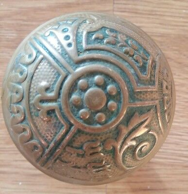 Beautiful Antique Victorian Eastlake Brass Bronze Door Knob Corbin Ceylon B11400