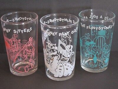 Flintstone's Jelly Glasses 1960's Set of 3 Doll Cave~Plays Golf~Baby Sitters EUC