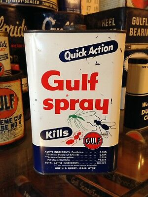 Gulf Oil Can Gulfspray DDT Gulflube Gulfpride Gas Station Car Rack Tire 1950's!!