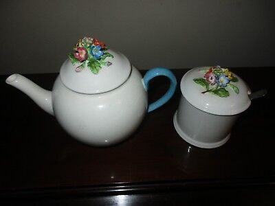 Crown Staffordshire England Fine Bone China Raised Flower Tea Set, Teapot, Sugar
