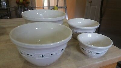 Longaberger Woven Traditions Retired Heritage Green Set of 4 Mixing Bowls~USA!