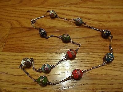 Vintage Hand Painted Porcelain Beads Ball Necklace Multi Color