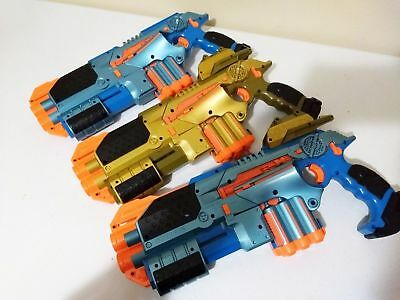 LOT OF 3 Tiger Nerf Lazer Tag Guns LTX Phoenix Blue & Gold Laser Shotgun Scope