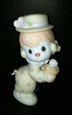 Vintage 1984 Enesco Precious Moments Clown With Flowers & Bee Figurine #12238