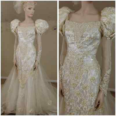 Vintage 80s wedding dress with train ,beads and gold sequins size 10 by Lili In