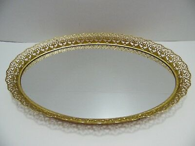 "Gold Filigree Mirror Perfume Tray Mirrored Oval 16.75""x12"" Vanity Dressing Table"
