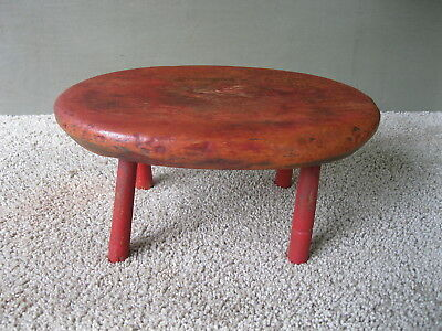 Antique Foot Stool Primitive Oval Footstool Bench Cricket, Old Worn Red Paint