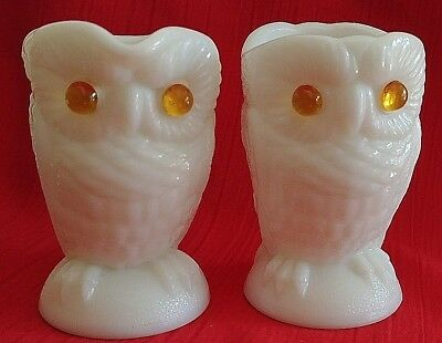 Imperial Glass Owl Creamer & Sugar Milk Glass
