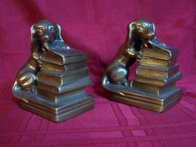 Vintage Dachshund Bookends Heavy Cast Brass Dog Chewing Book Pair