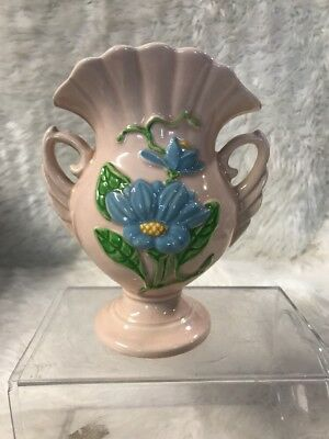 """Vintage Pink Magnolia Hull Art Pottery Vase H – 6 – 6 1/2"""" Double Handled Glossy"""