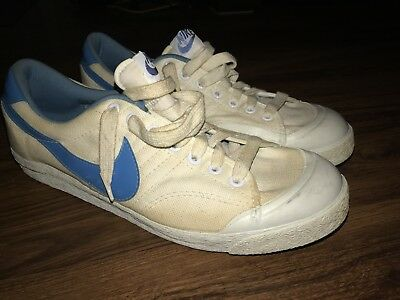 1982 Nike Mens Shoe All Court Canvas Blue White Low Top Basketball VTG 10.5 UNC