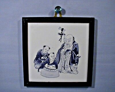 """VINTAGE 6"""" HAND PAINTED BLUE AND WHITE CHINESE IMMORTAL PORCELAIN TILE Framed"""
