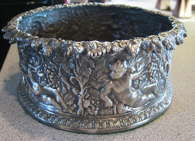 Sterling Silver Wine Bottle Coaster Repousse 547 Grams