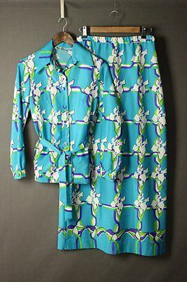 LANVIN Vintage 60's 70's Printed Blue Belted Long Skirt Top Outfit Set 12