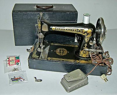 【RARE】Vintage 1920's Franklin Long Shuttle Electric Sewing Machine,Bobbins,Case!
