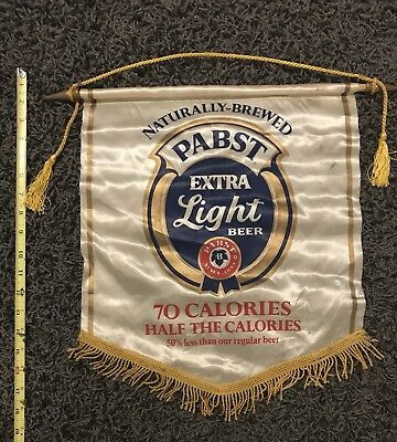 Vintage Pabst Blue Ribbon Extra Light Beer Hanging Wall Banner Sign 1069 L-194