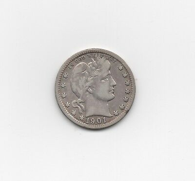 1901 Barber Quarter with All the Letters in LIBERTY Showing