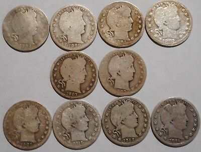 Barber Quarters - Set of 10 Different - See Dates - Low Start & Free Ship -02