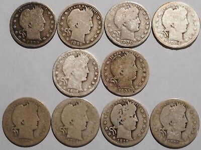 Barber Quarters - Set of 10 Different - See Dates - Low Start & Free Ship -08