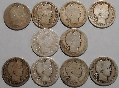 Barber Quarters - Set of 10 Different - See Dates - Low Start & Free Ship -12