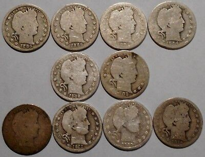 Barber Quarters - Set of 10 Different - See Dates - Low Start & Free Ship -11