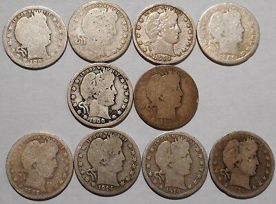 Barber Quarters - Set of 10 Different - See Dates - Low Start & Free Ship -05