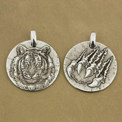 999 Sterling Silver Laser Engraved Tiger King Sharp Claws Biker Pendant 9X040D