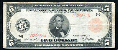 FR. 838a 1914 $5 FIVE DOLLARS RED SEAL FRN FEDERAL RESERVE NOTE CHICAGO, IL